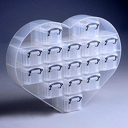 Large heart organiser with 16x0.14 litre Really Useful Boxes