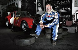 Nick Mason of Pink Floyd with his Ferrari 250GTO