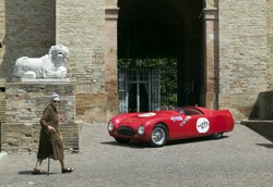 Cisitalia 202 1948 parked in an Italian village