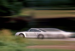Porsche 959 at speed on test for Car & Driver 1983