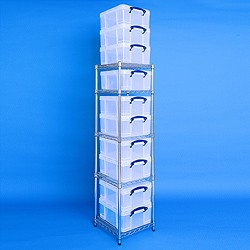 1 bay chrome racking with 10x18 litre Really Useful Boxes