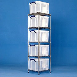 1 bay chrome racking with 5x35 litre Really Useful Boxes