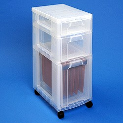 Storage tower with 1x7 + 1x12 + 1x25 litre Really Useful Drawers