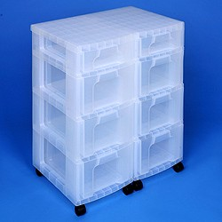 Storage tower double with 2x7 + 6x12 litre Really Useful Drawers