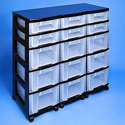 Storage tower triple with 6x7 + 9x12 litre Really Useful Drawers