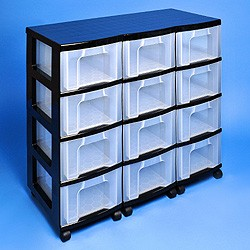 Storage tower triple with 12x12 litre Really Useful Drawers