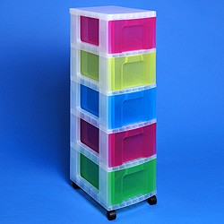 Ordinaire ... Storage Tower With 5x12 Litre Really Useful Drawers ...
