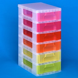 Storage tower with 6x7 litre Really Useful Drawers