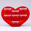 Small heart organiser with 1x0.07 + 6x0.14 litre boxes